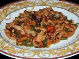 Carne con jojoto en salsa de ostra
