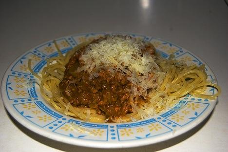 Spaguettis con salsa boloñesa