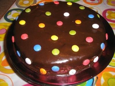 Tarta con crema de chocolate