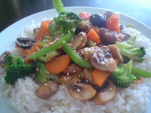 Salteado de pavo con verduras