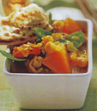Garbanzos y verduras con focaccia