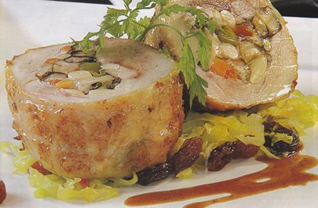 Muslos de pollo rellenos de jamón y setas