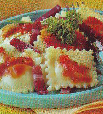 Ravioli napolitana con jamón
