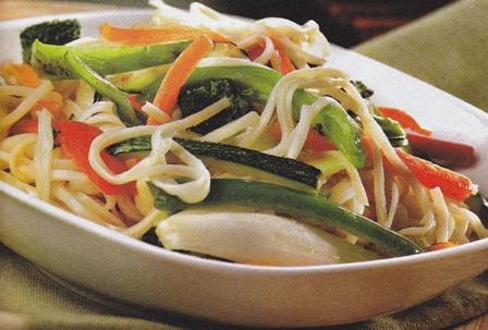 Salteado de verduras y fideos chinos