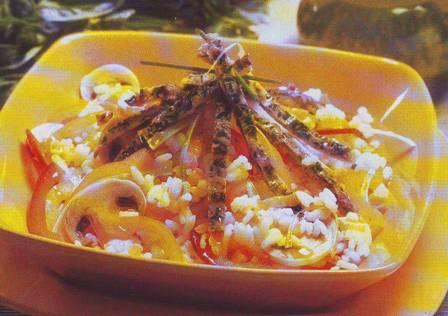 Ensalada de arroz con tortilla