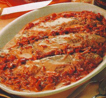 Trucha con salsa de jamón