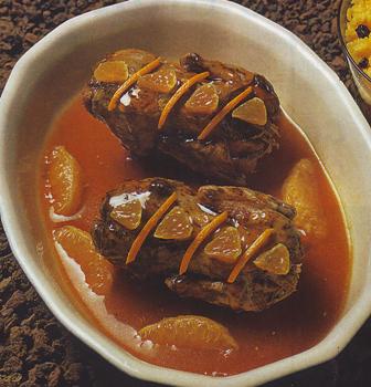Perdices estofadas con salsa mandarinas