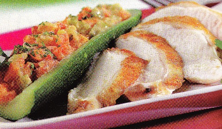 Mini calabacines rellenos de verduritas con pechugas de pularda