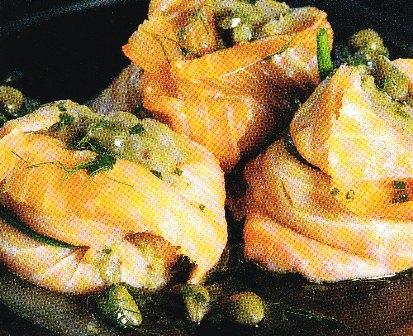 Crema de berenjenas con salmón ahumado