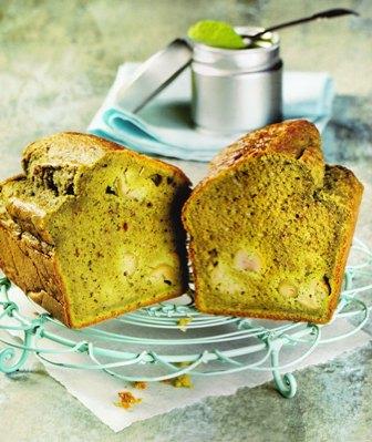Cake salado con té verde y aceitunas