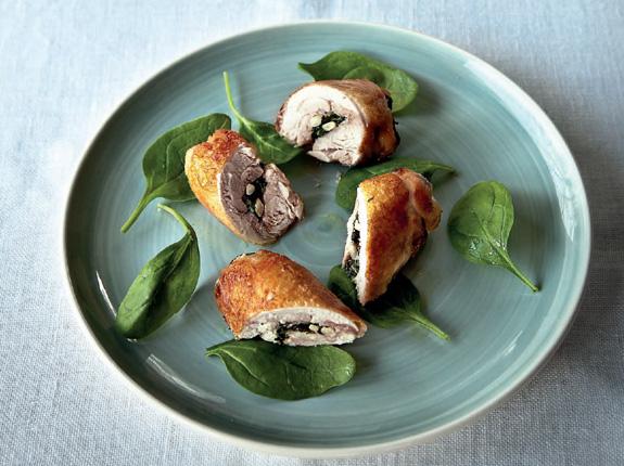 Rollos de pollo con espinacas