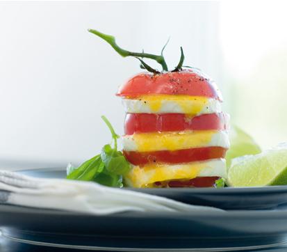 Torre de tomate y mozzarella