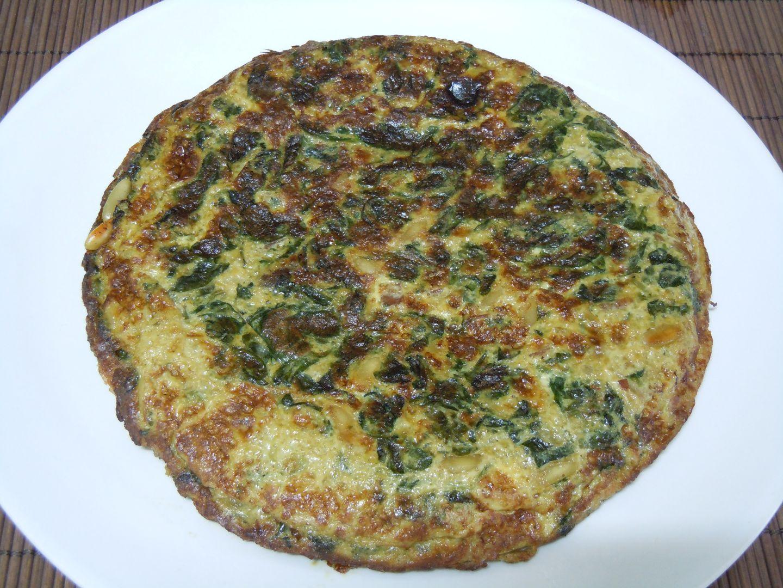 Tortilla de Espinacas sin huevo y queso enmental