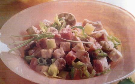 Ensalada de pollo y champiñones